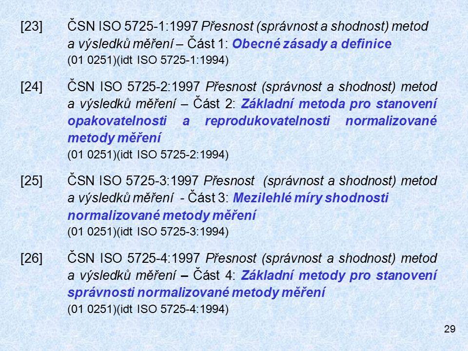 [23]. ČSN ISO 5725-1:1997 Přesnost (správnost a shodnost) metod
